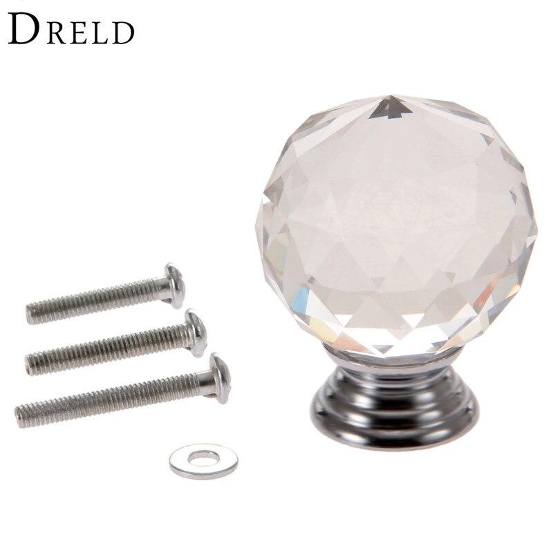 DRELD 1Pcs 40mm Clear Diamond Crystal Glass Pull Handle ...