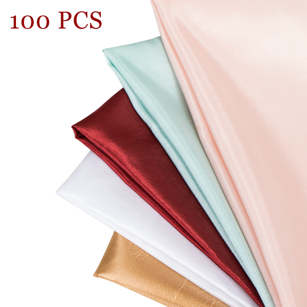 100PCS 18Inch Polyester Taffeta Solid Table Napkins Decor Hotel Party Wedding Napkin Red Blue Gold White Dinner Cloth 45x45CM