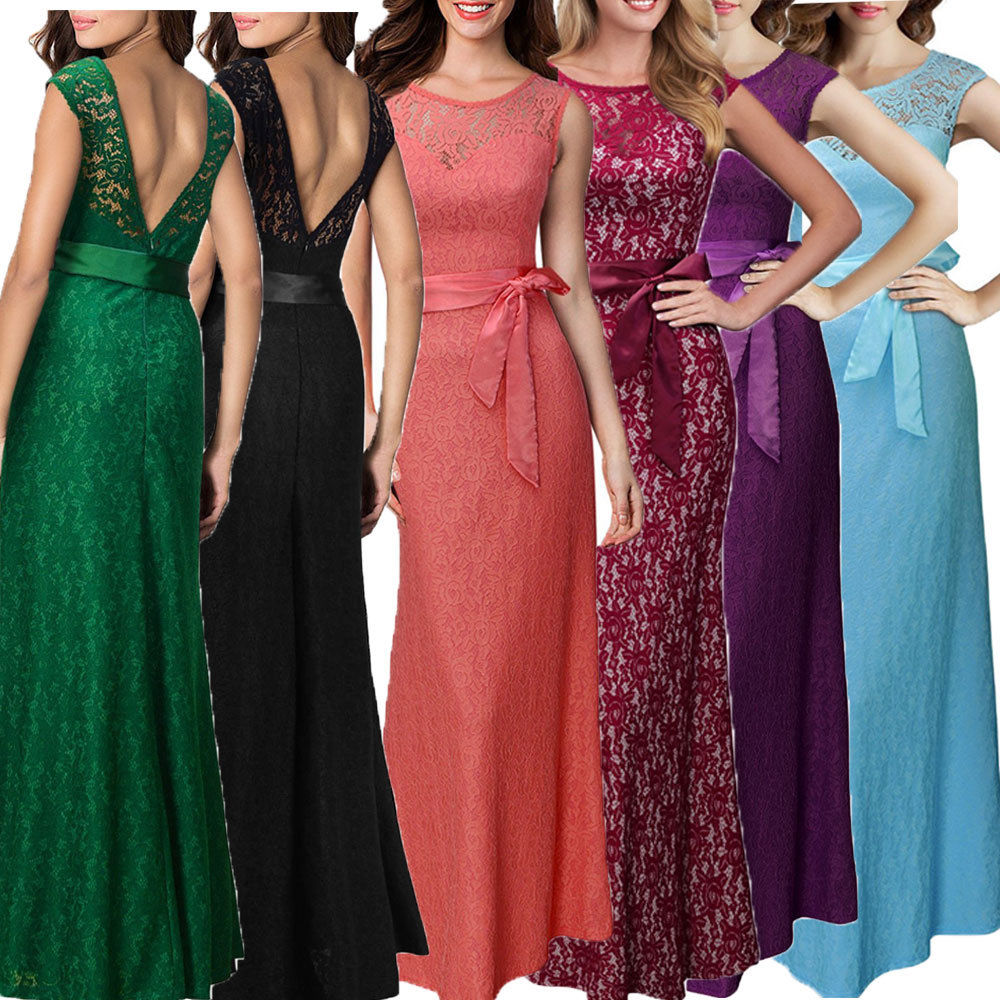 c7e2d69c64b65 US $9.99 |New Summer Maxi Dress Lace Pinup Women Sexy Slim Belted Backless  Sleeveless Party Dresses Vestidos-in Dresses from Women's Clothing on ...