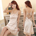 2016 Spring Summer Fall Women Silk Nightgown Lady Sexy Night Skirt Female Sleepshirt Lover Backless Sleep Gown Dress & Homewear