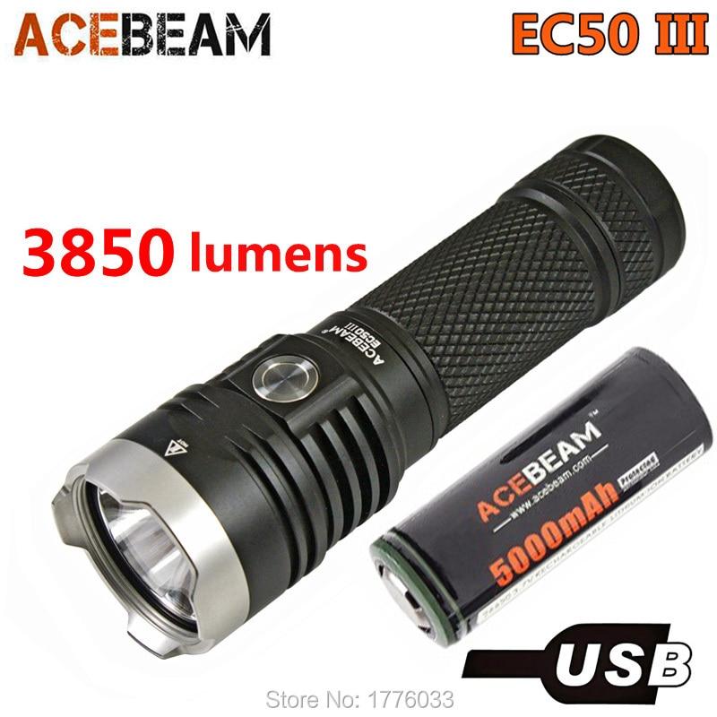 Acebeam EC50 Gen III Tactical Flashlight CREE XHP70 2 LED max 3850 lumen beam distance 326