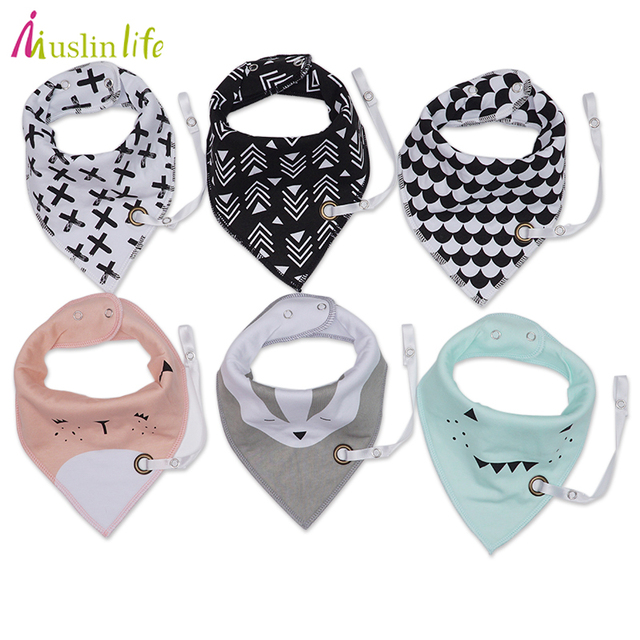 Muslin life (3pcs/lot) 2017 New Fashion Baby Bibs With Pacifier Hangers