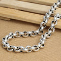 925 pure silver jewelry vintage thai silver 60cm pearl chain big buckle 8mm male necklace