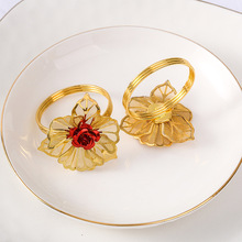 12PCS Western-style metal flower napkin ring Hotel set table Wedding wedding buckle