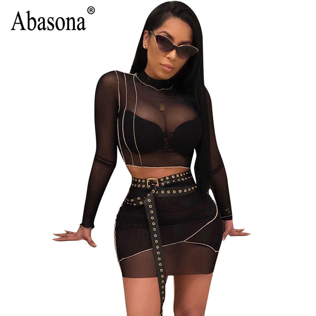 6108e552fa9 Abasona Sexy Mesh Dresses Night Club Party Dresses Long Sleeve Two Pieces  Outfits Striped Short Bodycon Pencil Dress Female