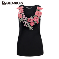 GLO STORY Women S Summer Tank Top 2017 Sleeveless Embroidered T Shirt Fashion Sexy Knit Crop