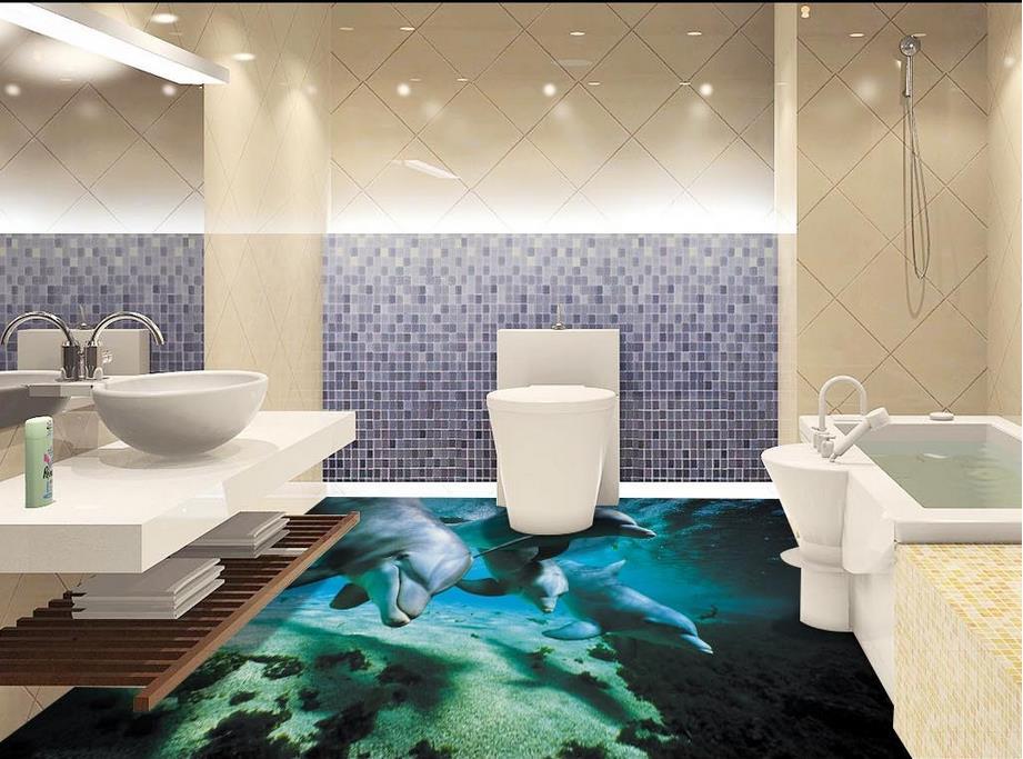 ФОТО custom 3d floor painting Marine Dolphins self adhesive vinyl wallpaper 3d floor murals waterproof-wallpaper-for-bathroom
