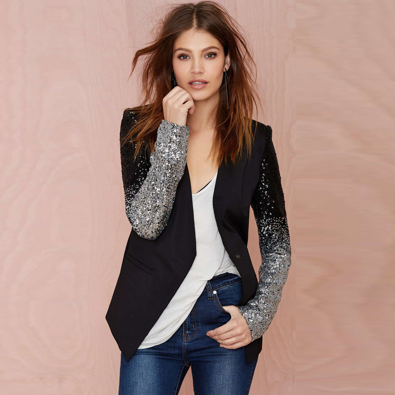 Winter Autumn Damen Paillette Langarm Slim Coat Jacke Cardigan Tops Blazer Plus