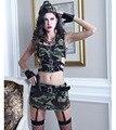 Luxo Senhoras Lingerie Conjuntos de Roupas de Camuflagem Do Exército Uniformes RolePlaying Lingerie Erótica Sexo Feminino Palco Vestido de Festa Trajes