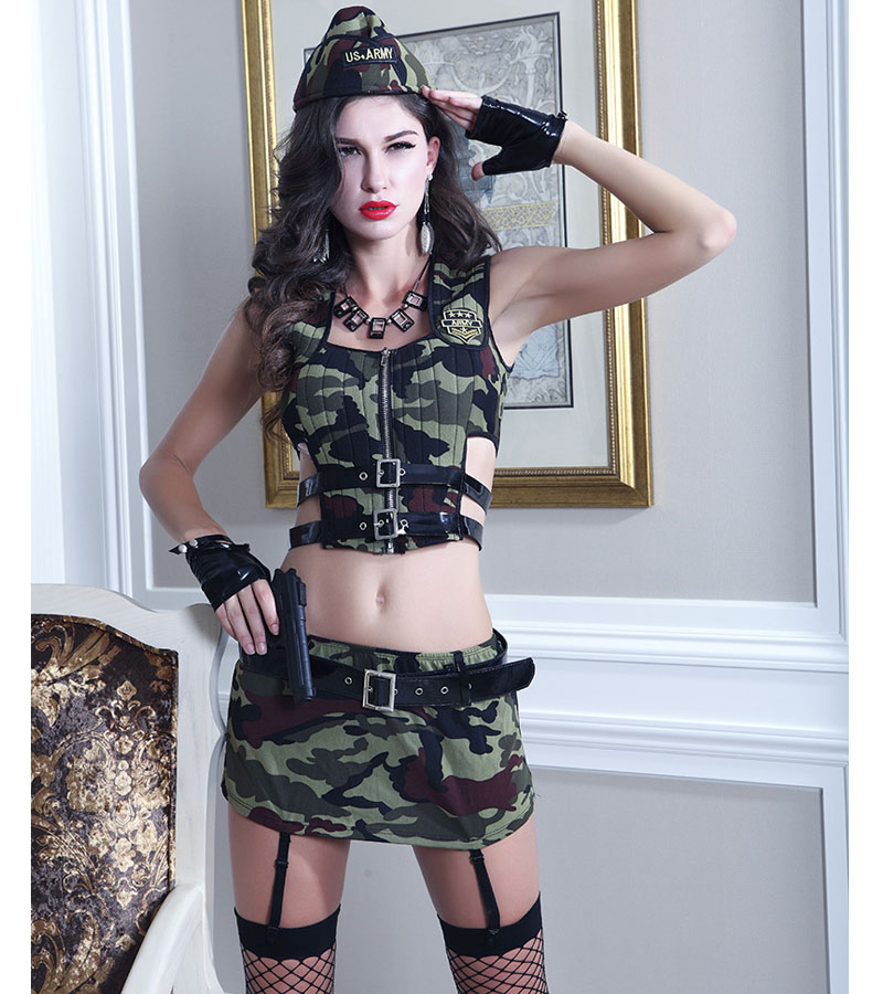 Luxury Ladies Lingerie Army Camouflage Clothing Sets Uniforms Erotic RolePlaying Underwear Female font b Sex b