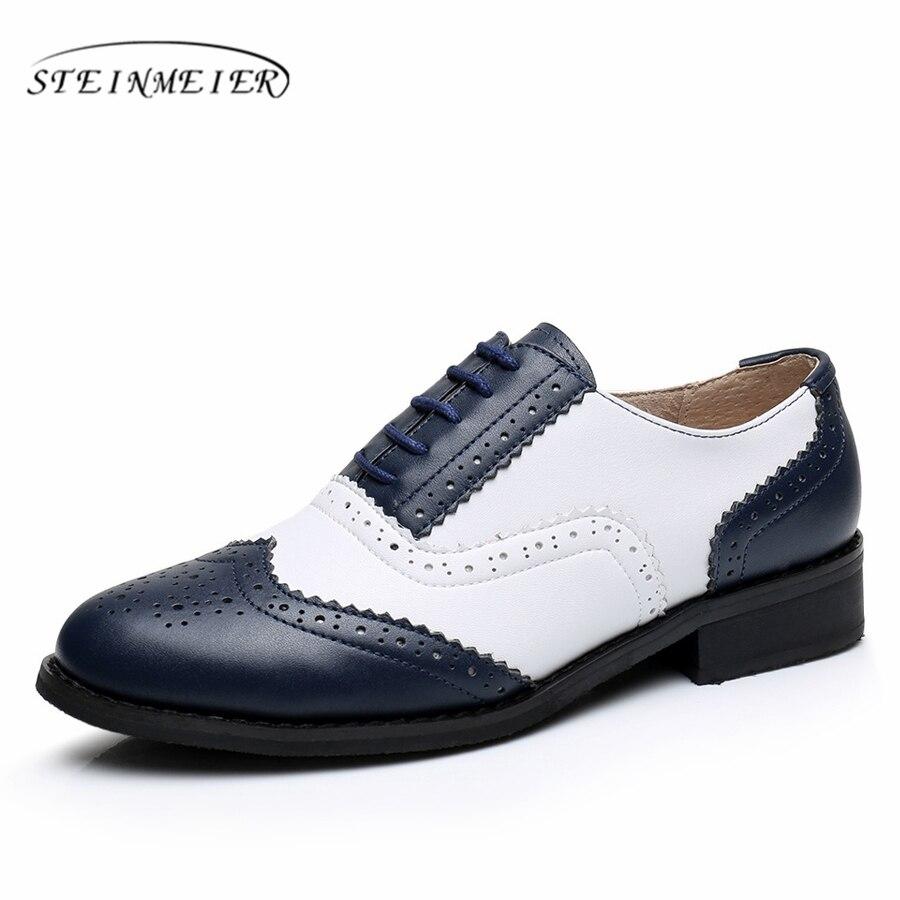 High Quality Genuine Leather Womens Shoes Vintage Black White Cepc Sepatu Kulit Cocoes Pantofel Asli Besar Wanita Ukuran Us 11 Designer Datar Round Toe Oxford Untuk
