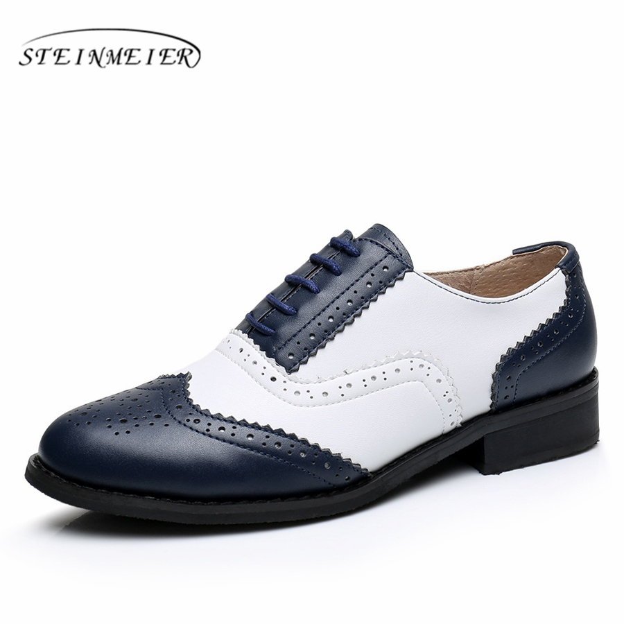 Genuine leather big woman US size 11 designer vintage flat shoes round toe handmade white blue oxford shoes for women with fur 2016 genuine leather big woman size 11 designer vintage flat shoes round toe handmade blue pink beige oxford shoes for women fur