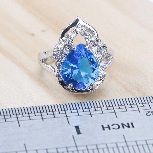 Blue Zircon Silver 925 Wedding Jewelry Sets  4