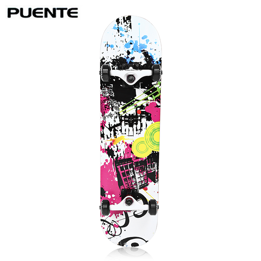 PUENTE ABEC 9 Four Wheel Skateboard Longboard Penny Skate Board Full Double Snubby Maple For Entertainment