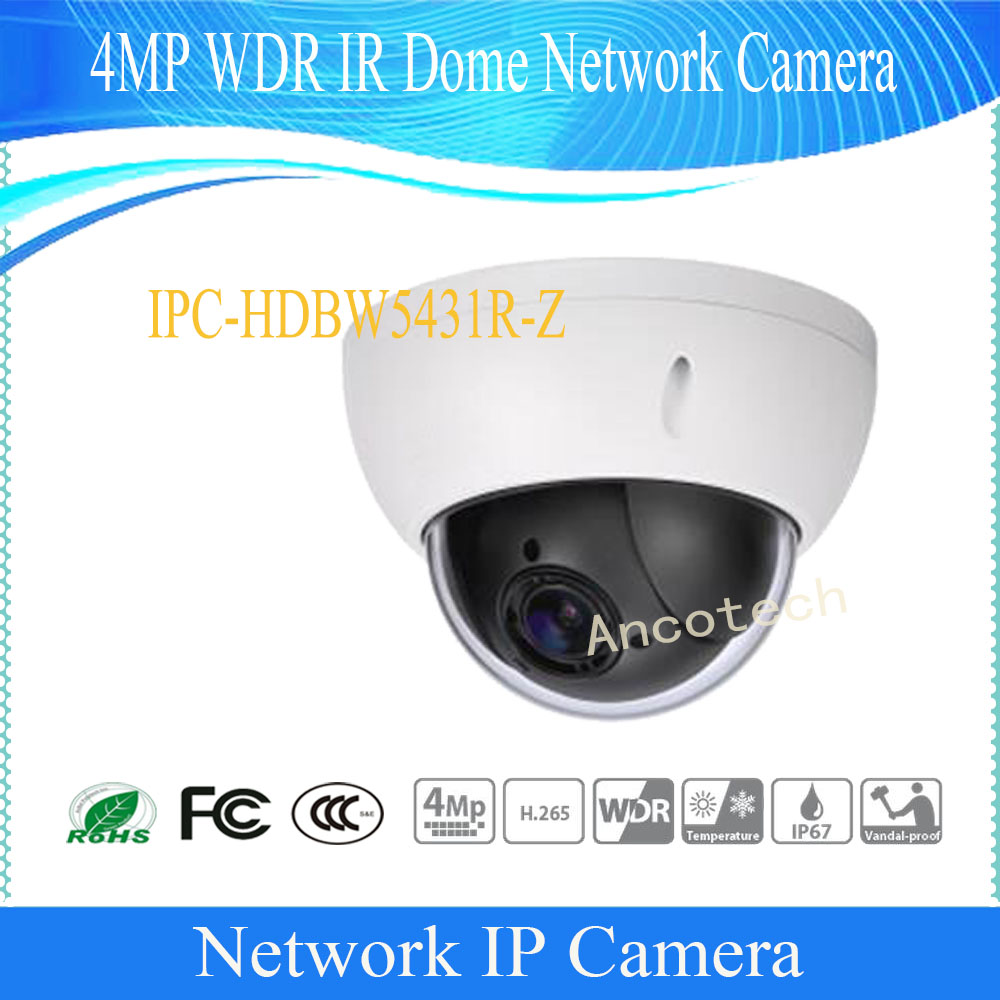 Free Shipping DAHUA Security IP Camera CCTV 4MP WDR IR Dome Network Camera IP67 IK10 With POE Without Logo IPC-HDBW5431R-Z free shipping dh security ip camera 2mp 1080p ir mini dome network camera ip67 ik10 with poe without logo ipc hdbw4231f as