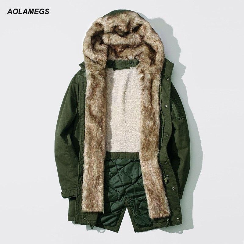 Aolamegs Winter Jacket Men Thick Warm Detachable Fur Collar Windbreaker Coat Plus velvet Medium-long Hooded Windproof Outerwear