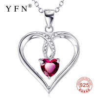 GNX9961 100 Real 925 Sterling Silver Necklace Love Heart Red Crystal Romantic Pendants Necklaces Charming Jewelry