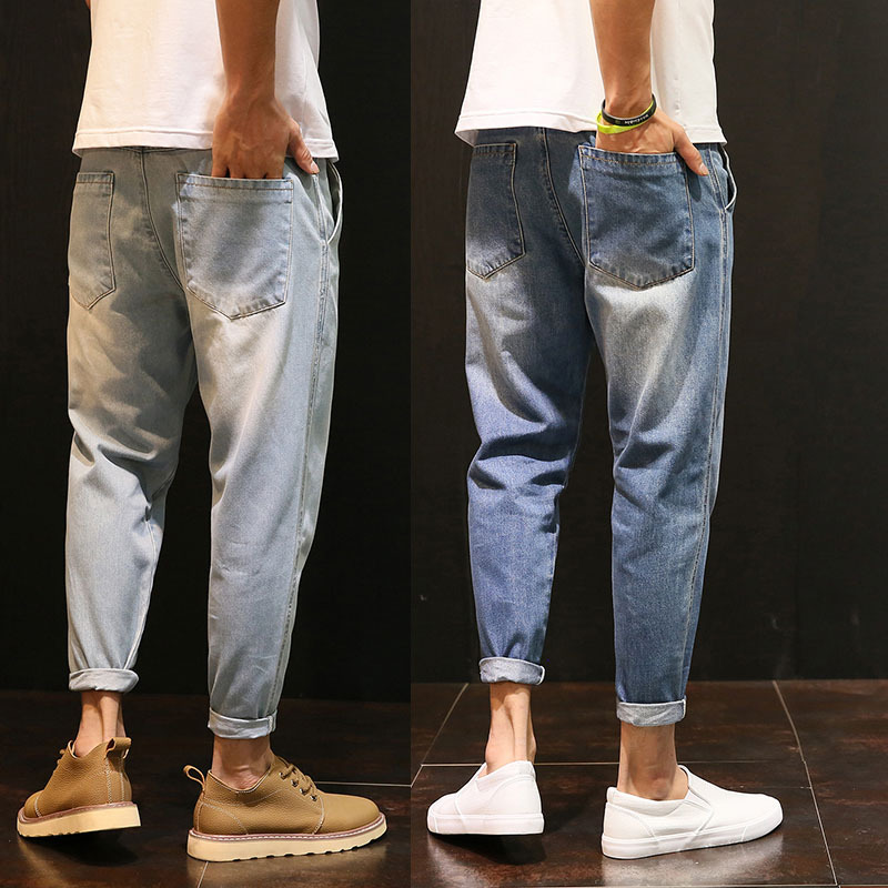 High quality 2019 spring summer Casual washing Vintage hip hop student teenagers thin   jeans   men loose harem pants male