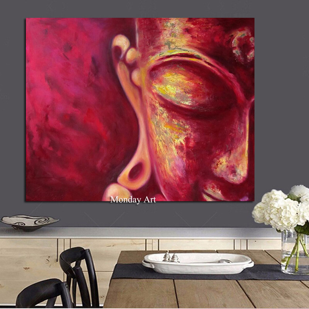 Stylish Handpainted Buddha Painting Classic Art Deep Red