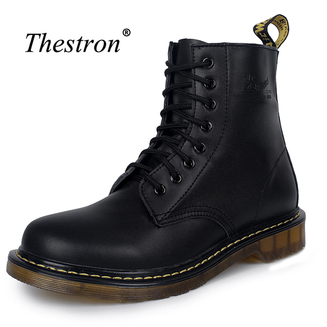 Мужские кожаные ботинки, удобные ботинки для мужчин, Нескользящие ботинки Martens, мужская обувь на шнуровке, модные ботинки на резиновой подош...