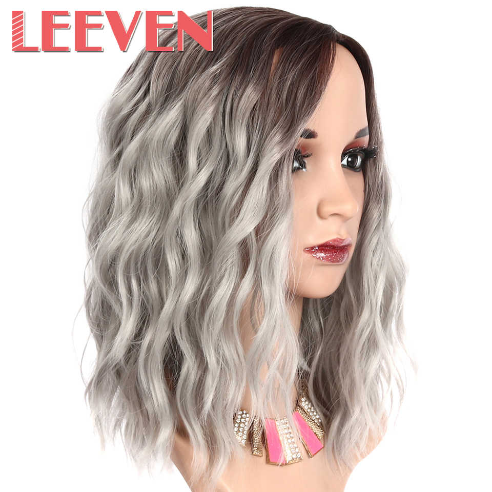 Leeven 12inch Synthetic Short Natural Wave Wigs for Womens Brown Blonde Blue Pink Hair Wigs Female Heat Resistant Fiber