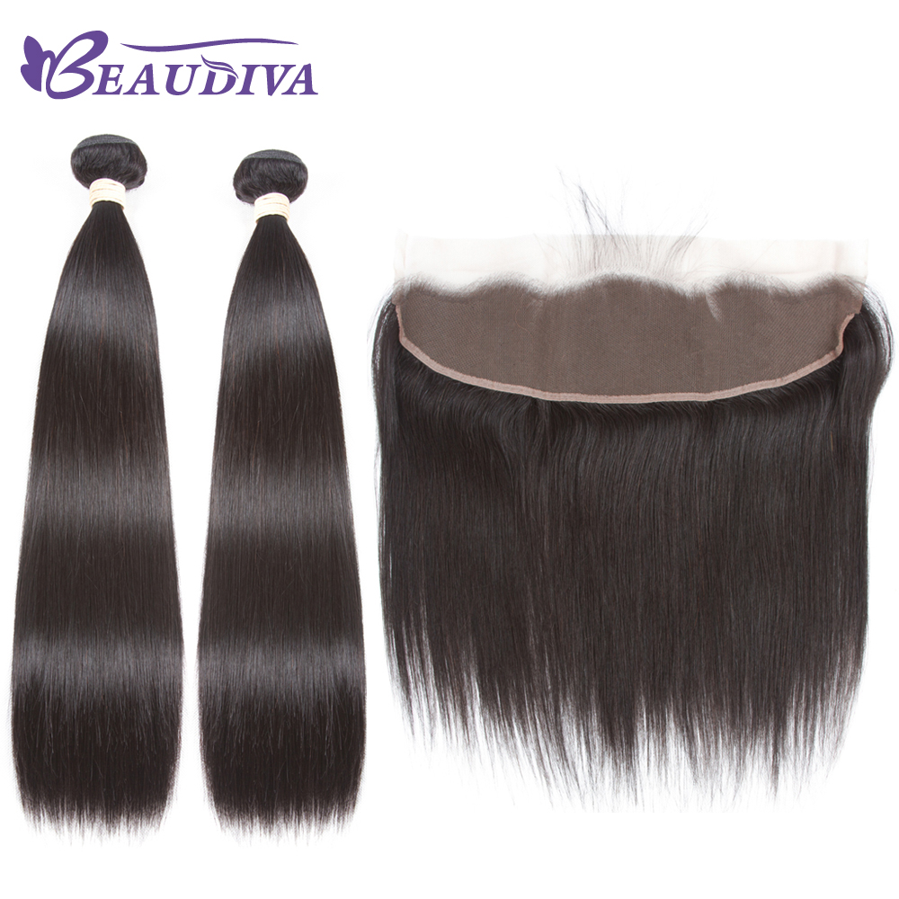 Beaudiva Brazilian Straight Human Hair Weave 2 Bundles With 13x4 Frontal Closure Human Hair Natural Dark