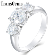 Transgems 10 k ouro branco 2.2ctw centro 1.2ct 7mm e lado 0.5ct 5mm f cor moissanite 3 pedra noivado aniversário anel