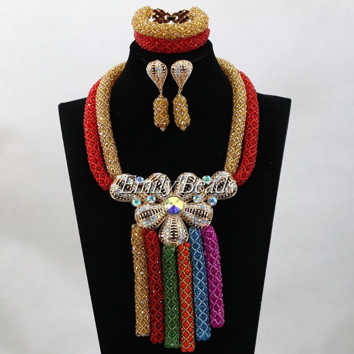 Splendid Crystal Costume Nigerian Wedding African Beads Jewelry Sets Multicolored Bridal Neckalce Set Free Shipping ALJ480Splendid Crystal Costume Nigerian Wedding African Beads Jewelry Sets Multicolored Bridal Neckalce Set Free Shipping ALJ480