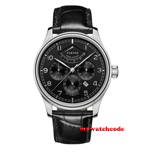 parnis black dial Sapphire Glass 26 jewels miyota Automatic 9100 mens Watch P664 42mm parnis black dial multifunction sapphire glass black leather strap 26 jewels miyota 9100 automatic mens watch