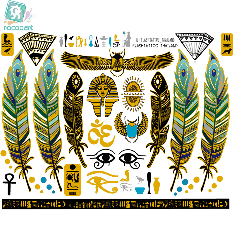 Rocooart A6080-001 Big Gold Golden Tatuagem Body Art Temporary Tattoo Stickers Egypt Style Feather Vintage Glitter Tatoo Sticker