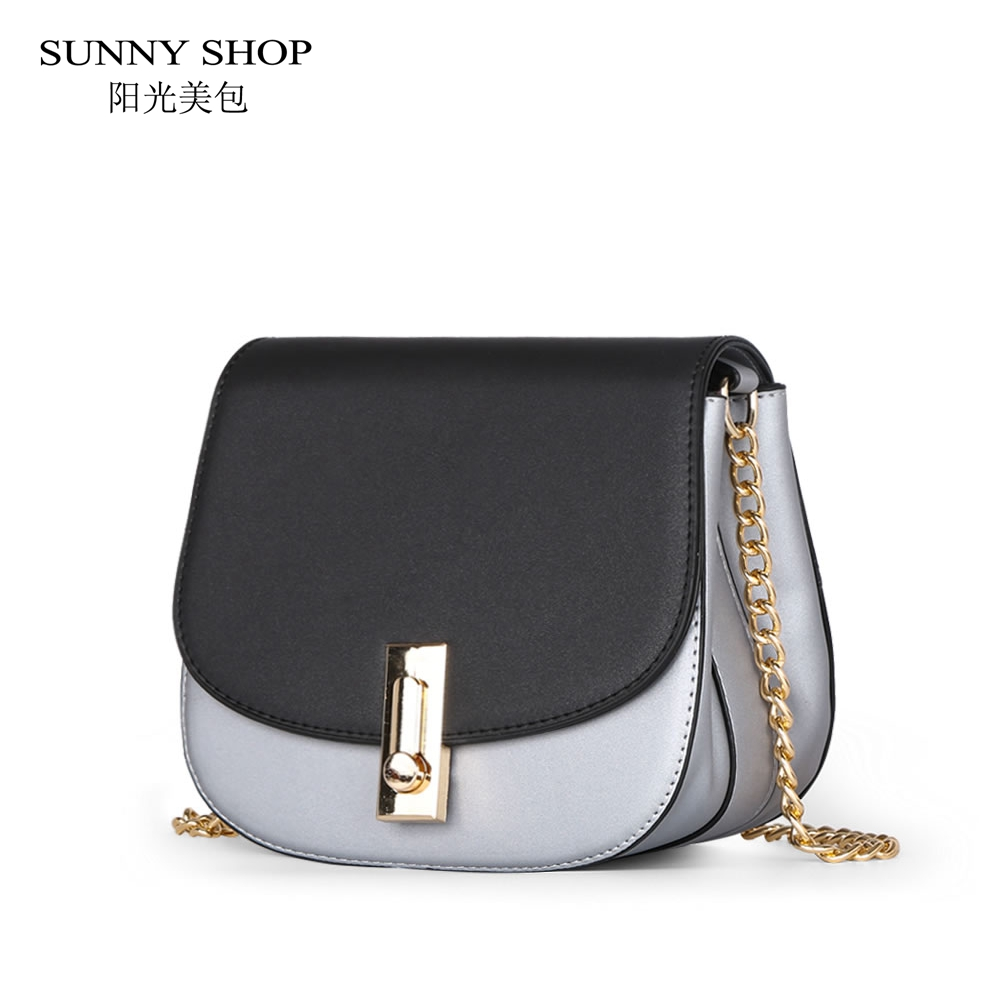 SUNNY SHOP 2017 Summer New Saddle Women Bag Fashion Chains Shoulder Bag Brand Designer Messenger Bag