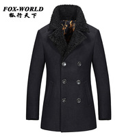 Fashion Brand Mens Cashmere Coat Winter 2015 Peacoat Casual Wool Coat Mens Pea Coat Overcoat Manteau