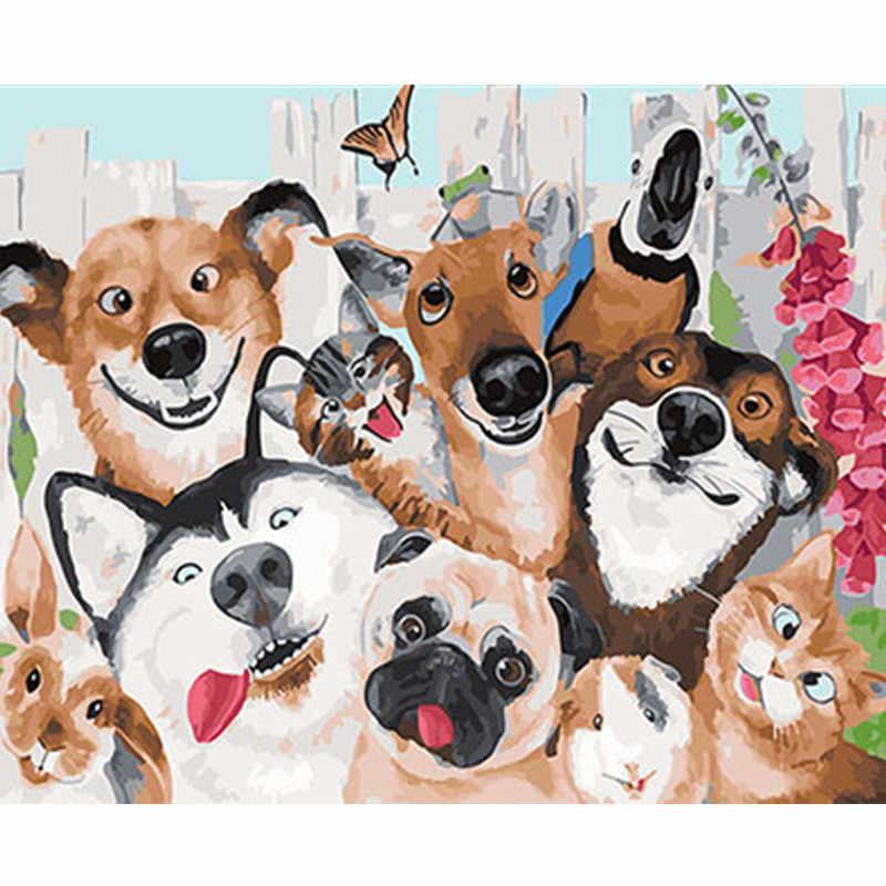 Animales encantadores enmarcado imágenes DIY pintura por números DIY pintura al óleo en lienzo decoración del hogar pared arte GX25318 40X50 CM