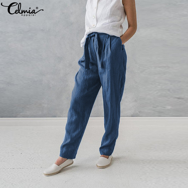 5af198449299 Women Cotton Linen Harem Pants Plus Size Celmia Palazzo Pants Pockets Baggy  Summer Trousers Female Casual Work Office Pantalon