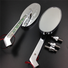 Aftermarket free shipping motorcycle parts  LED turn signals Running Mirror a CBR600 900 929 954 1000RR OVAL Shape CHROMED