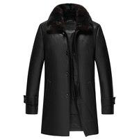 Длинные Стиль кожаные пальто Для мужчин из натуральной кожи пуховик дубленка из натуральной кожи куртка Для мужчин jaqueta de couro 2018 Новый