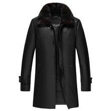 Длинное стильное кожаное пальто мужская куртка из натуральной кожи пуховик из овчины мужская куртка из натуральной кожи jaqueta de couro 2018 новая