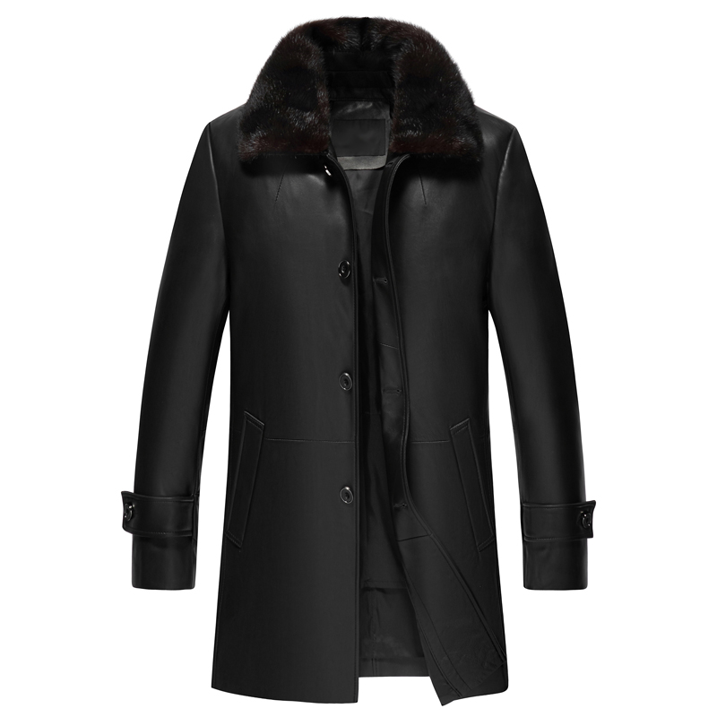 Long Style En Cuir Manteau Hommes En Cuir Véritable Veste Vers Le Bas Manteau En Peau de Mouton Réel Véritable Veste En Cuir Hommes jaqueta de couro 2018 nouveau