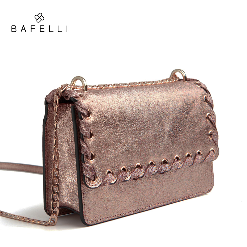 BAFELLI new arrival split leather bag rose gold bolsos mujer fashion  ribbons crossbody bag hot sale women messenger bags-in Shoulder Bags from  Luggage ... 6cf34fb862