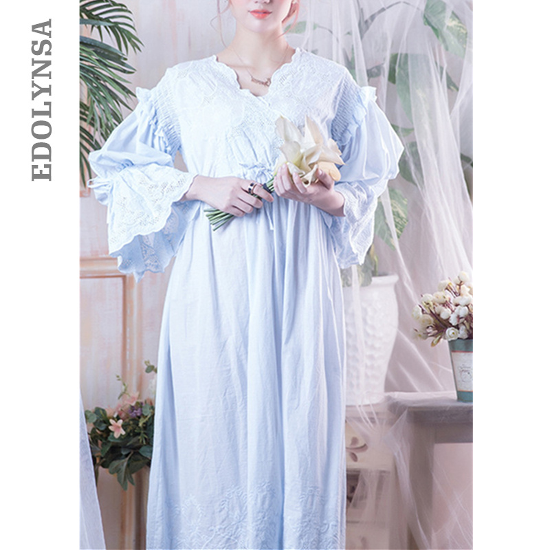 Victorian   Nightgowns     Sleepshirts   Vintage Sleepwear Women Nightwear Long Sleeve High Waist Belted Night Maxi Dress Plus Size T282