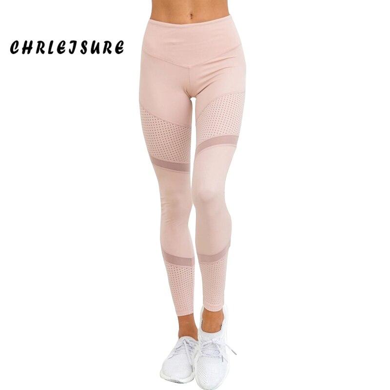 CHRLEISURE Work Out Pink Leggings Mujer primavera tobillo-longitud Softe malla Legging costura hueco Delgado Push Up Lady Legging