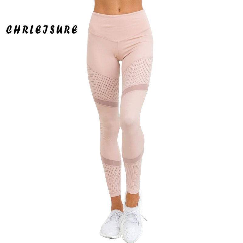CHRLEISURE Work Out Pink Leggings Women Spring Ankle-Length Softe Mesh Legging Stitching Hollow Slim Push Up Lady's Legging