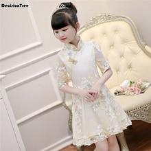 2019 nuevo estilo chino tradicional de las niñas vestido de niño tang traje  bordado rojo cheongsam vestidos túnica bebé qipao añ. 379668b02d6