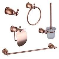 2017 Wholesale Solid Brass Rose Golden Bathroom Hardware Set Robe Hook Towel Bar Ring Towel Rails Toilet Paper Holder