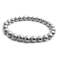 цены Genuine Natural Gibeon Meteorite Moldavite 6mm Round Beads Bracelets Bangle Stretch Crystal Beads 925 Silver 26 Beads