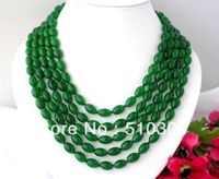 Long 100 12mm Nature Ellipse Green Jade Necklace