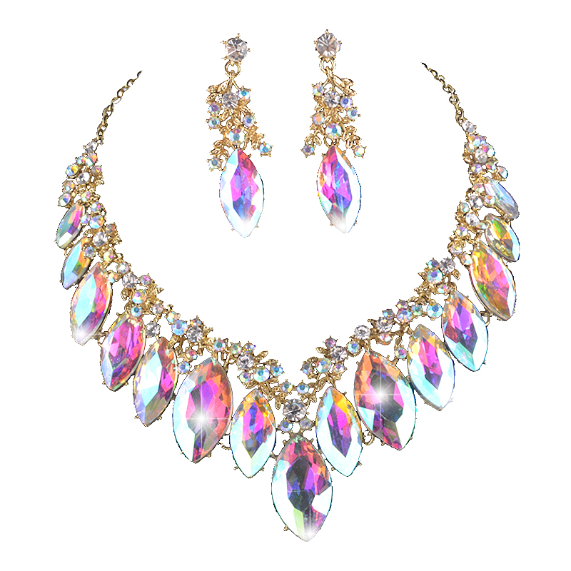 Marquise AB color crystal pageant bridal Jewelry sets women party wedding Dress necklace earrings Rhinestone For Christmas gift