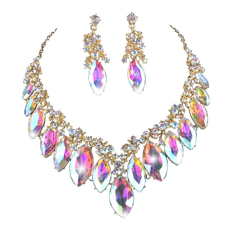 Женский комплект свадебных украшений Marquise AB, вечерние комплекты с кристаллами, ожерелье, серьги, стразы, рождественский подарок