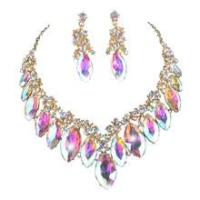 Marquise conjunto de joias para noiva, kit de jóias para mulheres festa, casamento, colar, brincos com strass para presente de natal