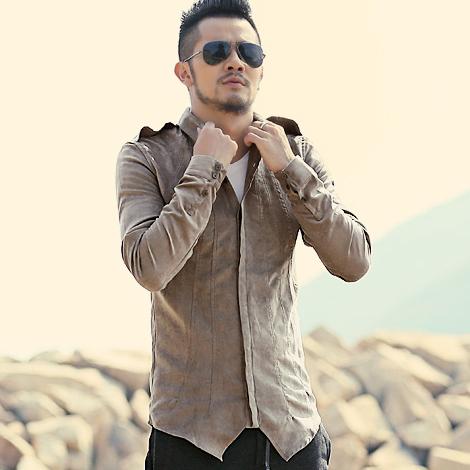 2016 Otoño nuevo diseño sastrería Británico de los hombres de cuero de gamuza masculina camisas camisa de los hombres camisa casual masculina camisa de cuero S2034